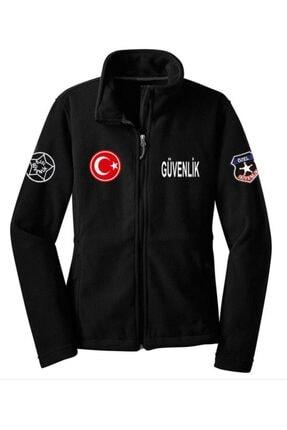PERSONELİTY Siyah Özel Güvenlik Logolu Baskılı Cepli Polar Hırka