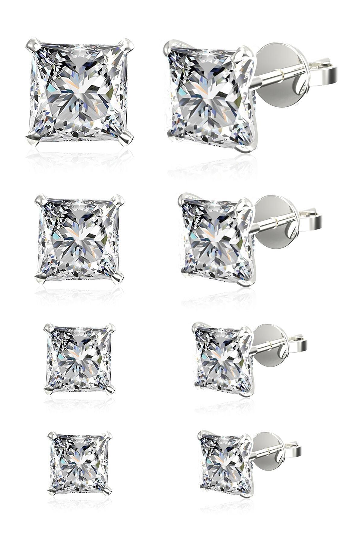 Omar Unisex 4 Çift Tek Taş Beckham Zirkon Taşlı Kare Gümüş Küpe Seti Omr8117 1