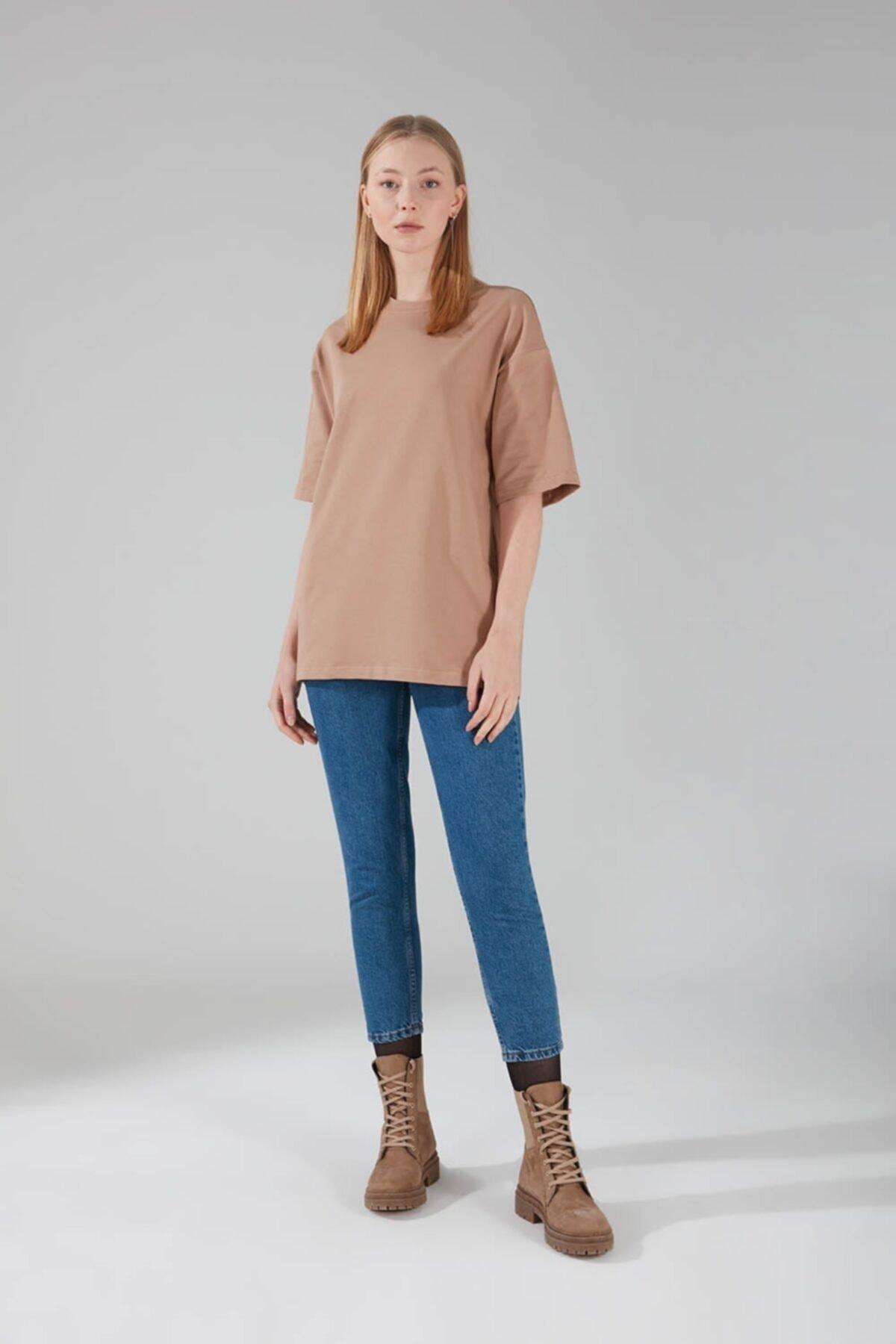 Mizalle Kadın Bej Iki Iplik Kısa Kol T-Shirt 1