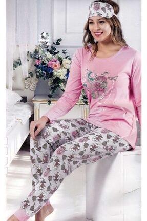 Çekmece Kadın Pembe Desenli Uzun Kol Pamuklu Pijama Takım 8062