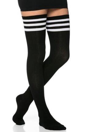 lovebox Kadın 3 Şerit Detaylı Pamuklu Siyah Dizüstü Çorap Jartiyer Boy Siyah Uzun Boy Çorap