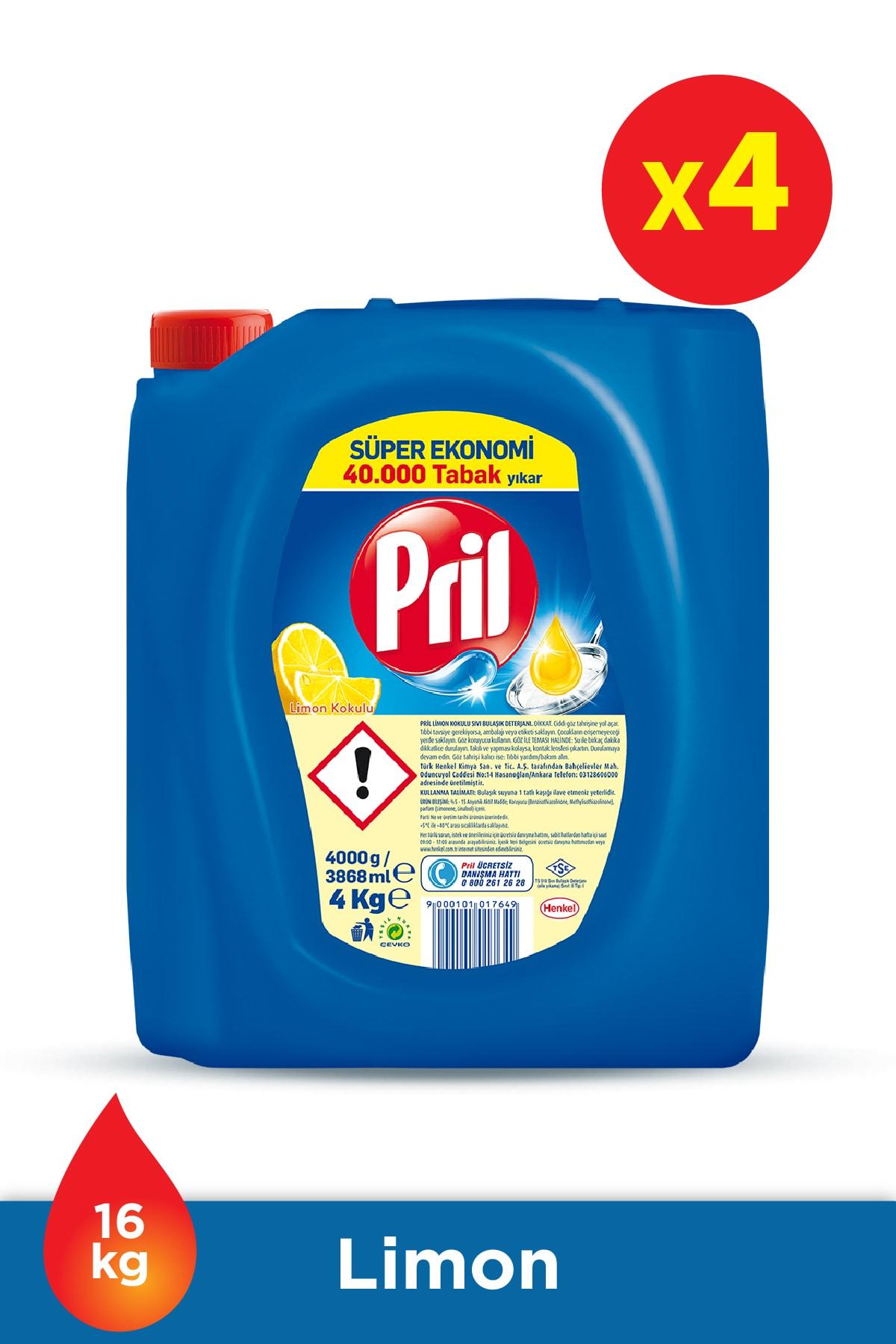 Pril Elde Yıkama Sıvı Bulaşık Deterjanı 4 x 4kg Limon (16kg) 1