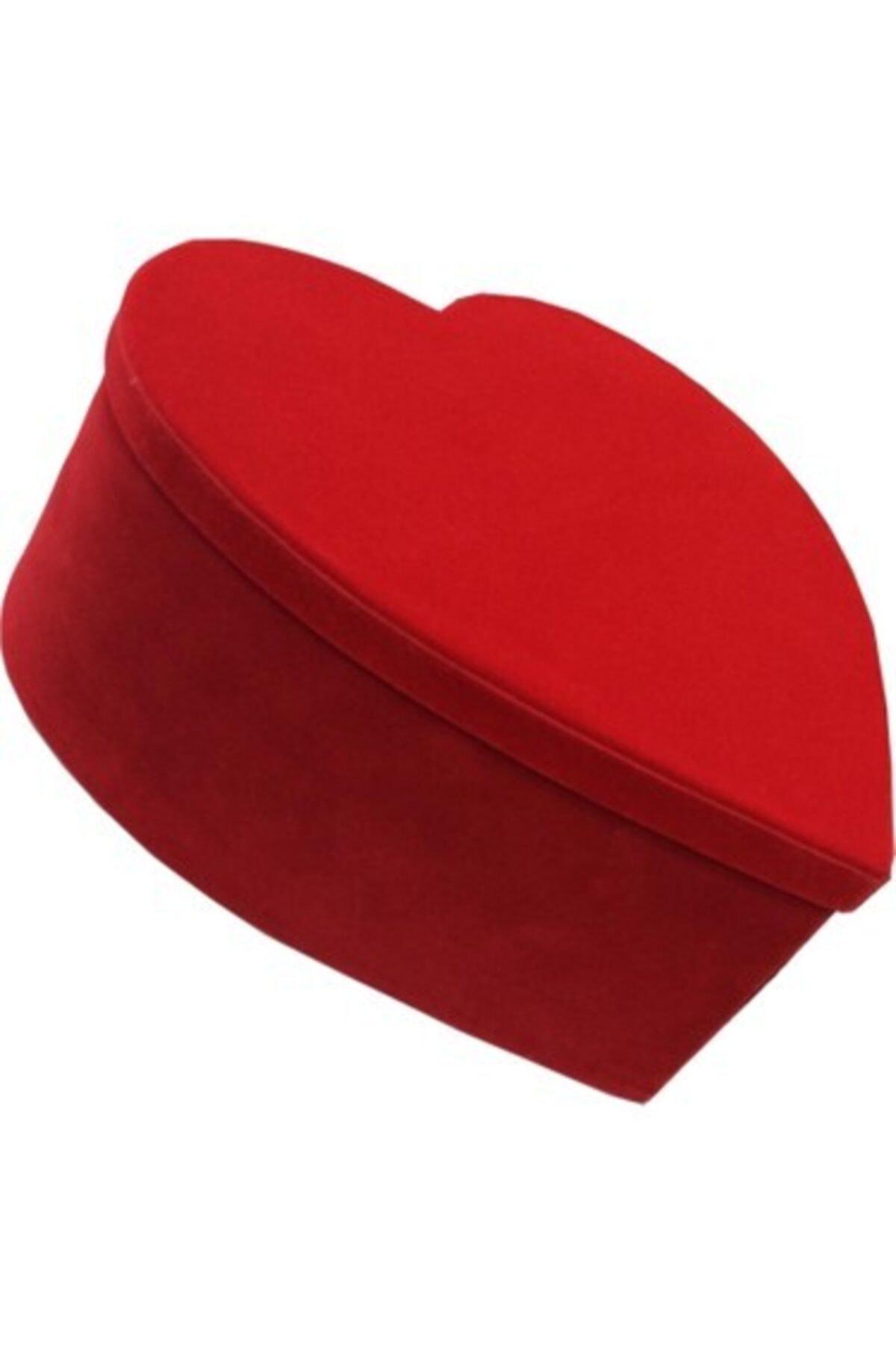 trendfm Hediye Kutusu Kadife Jumbo Boy Kırmızı Kalpli 1