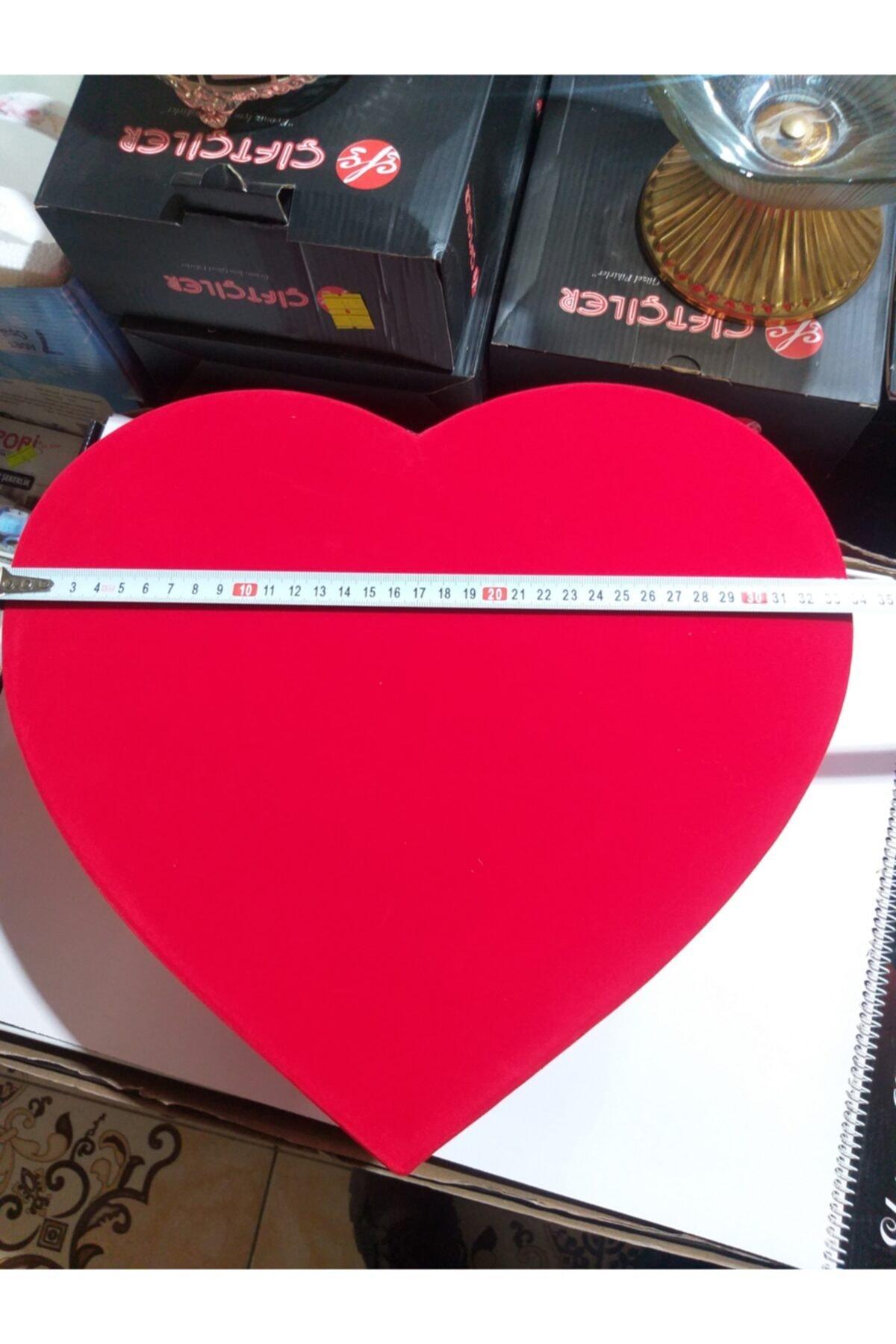 trendfm Hediye Kutusu Kadife Jumbo Boy Kırmızı Kalpli 2