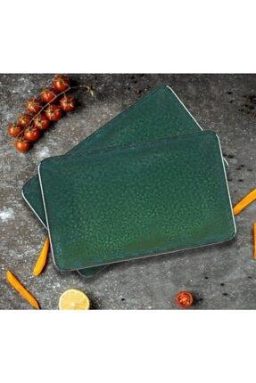 Keramika Kayık Kare Sıera 31*21 cm Koyu Yeşil Tekli