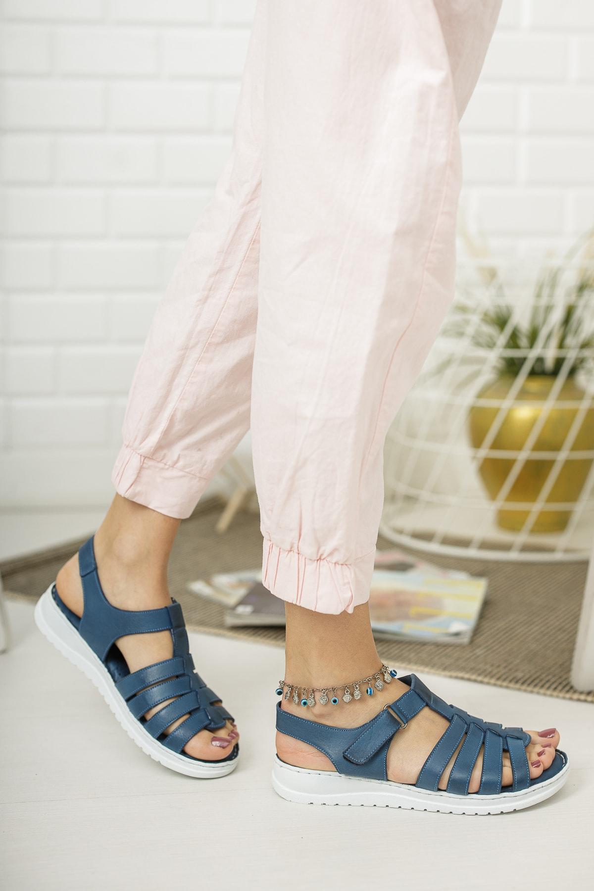 Deripabuc Hakiki Deri Kot Mavi Kadın Deri Sandalet Dp05-0246 1