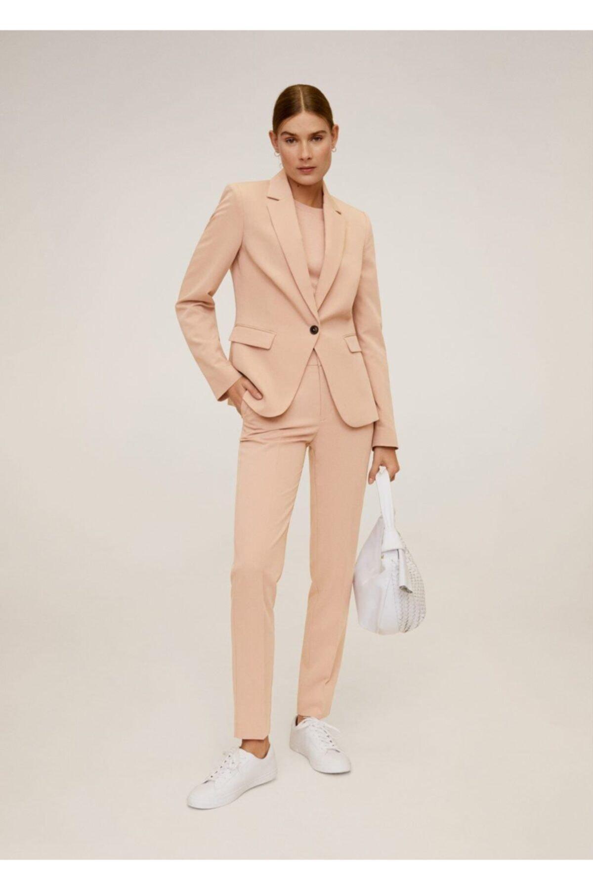 MANGO Woman Kadın Pembe Astarlı Gündelik Blazer Ceket 2