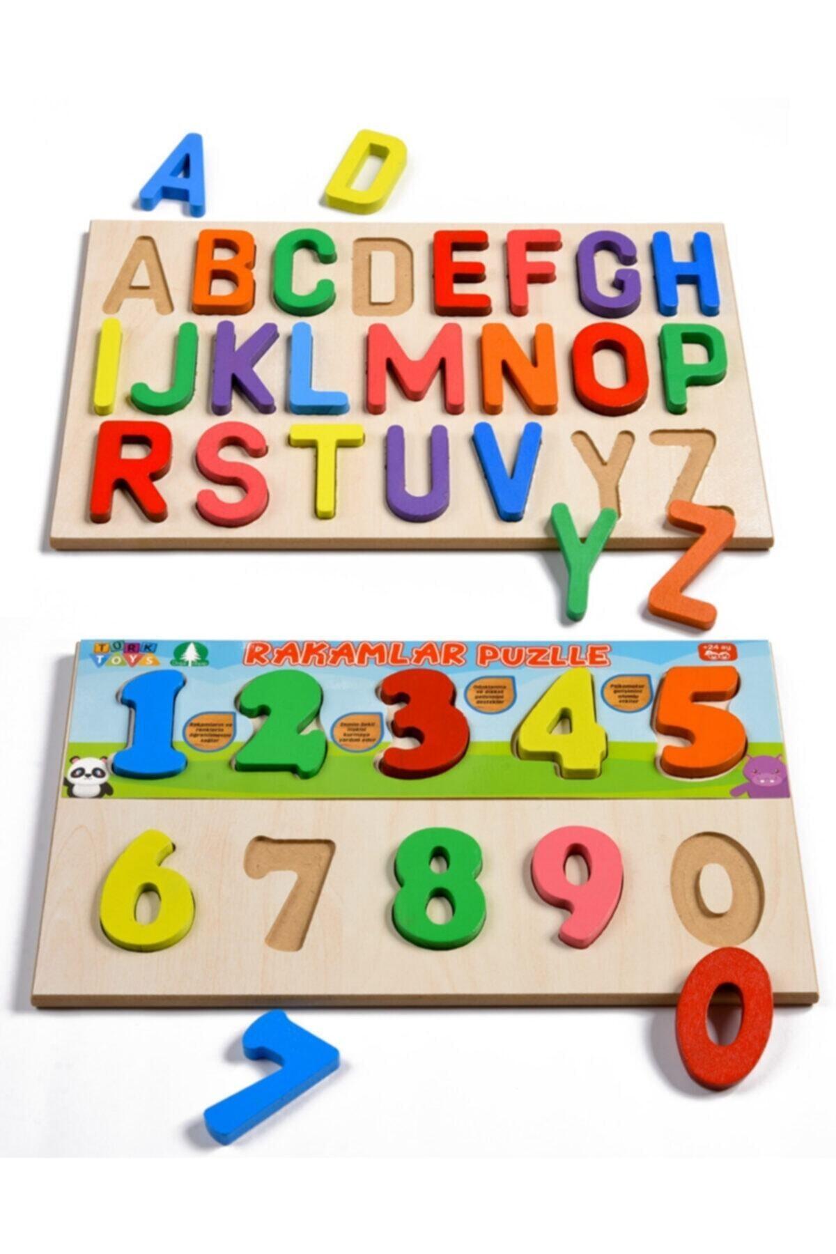 Türk Toys Ahşap Puzzle 2'si 1 Arada Alfabe Ve Sayılar Hy0054 1
