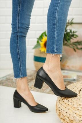 Nirvana ayakkabı Kadın Siyah Kısa Kalın Topuklu Ayakkabı