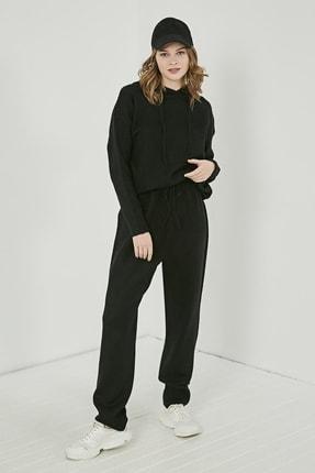 Sateen Kadın Siyah Kapüşonlu Pantolon Triko Takım  STN220KTR349