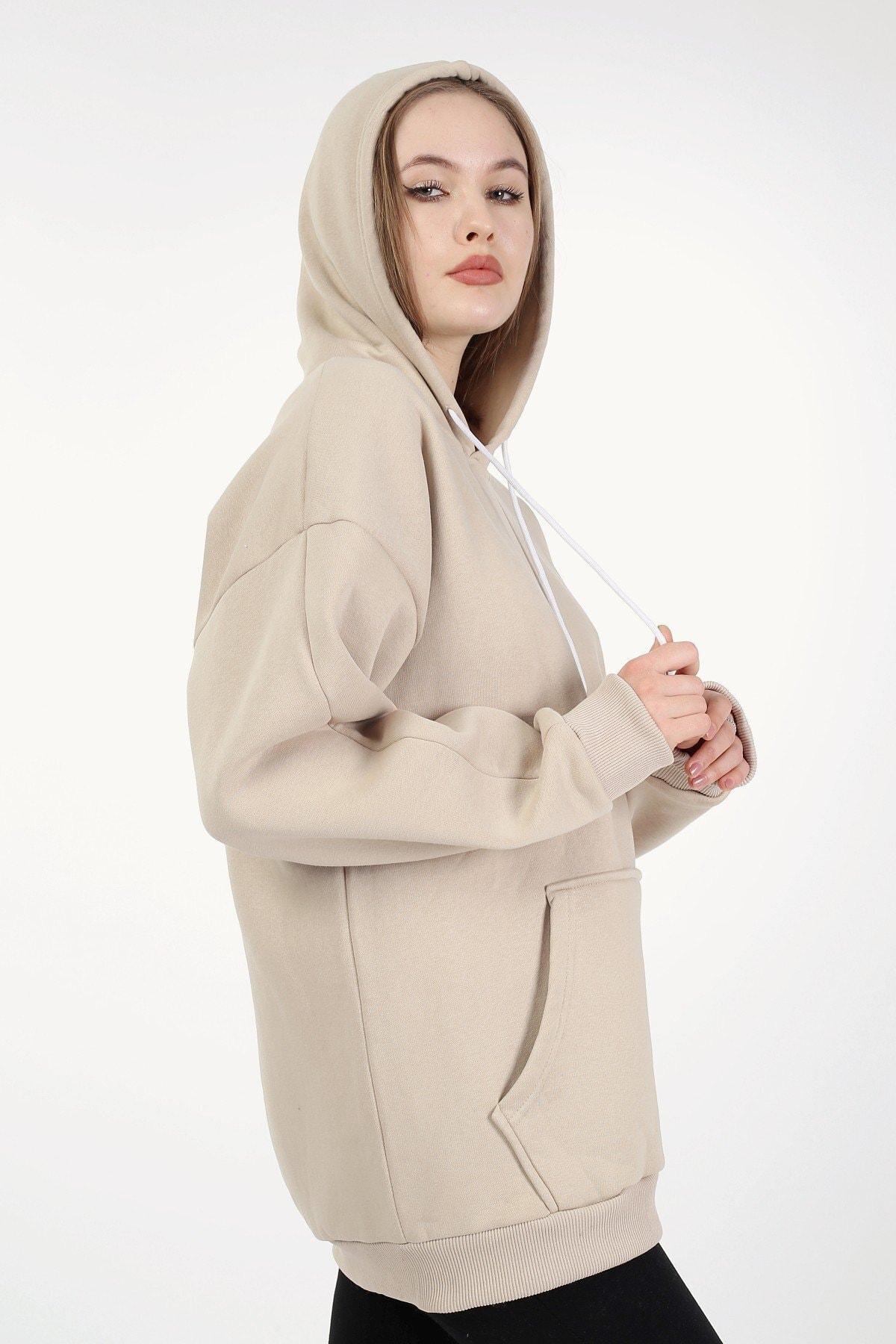 Millionaire Camel Kapşonlu Oversize Kadın Sweatshirt 2