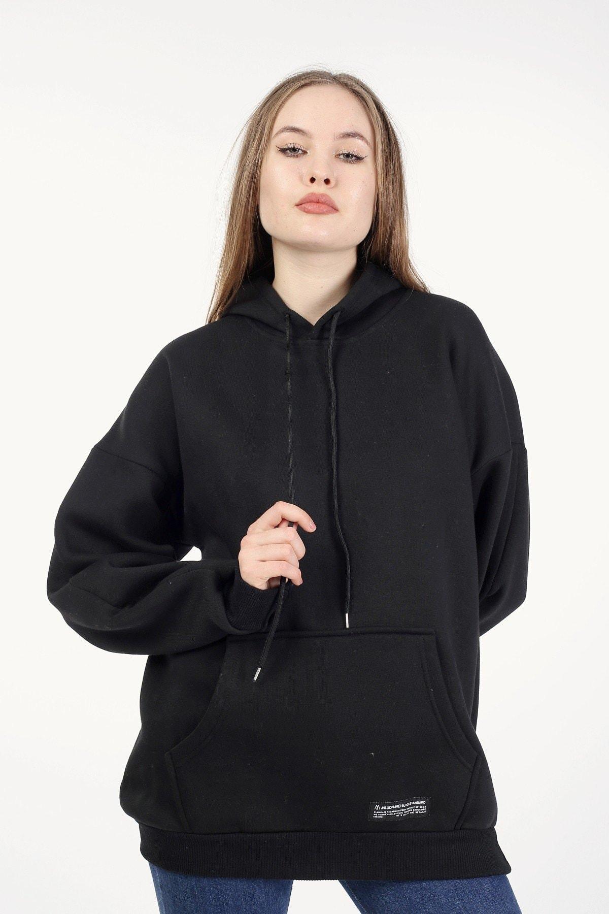 Millionaire Kadın Siyah Kapşonlu Oversize Sweatshirt 1
