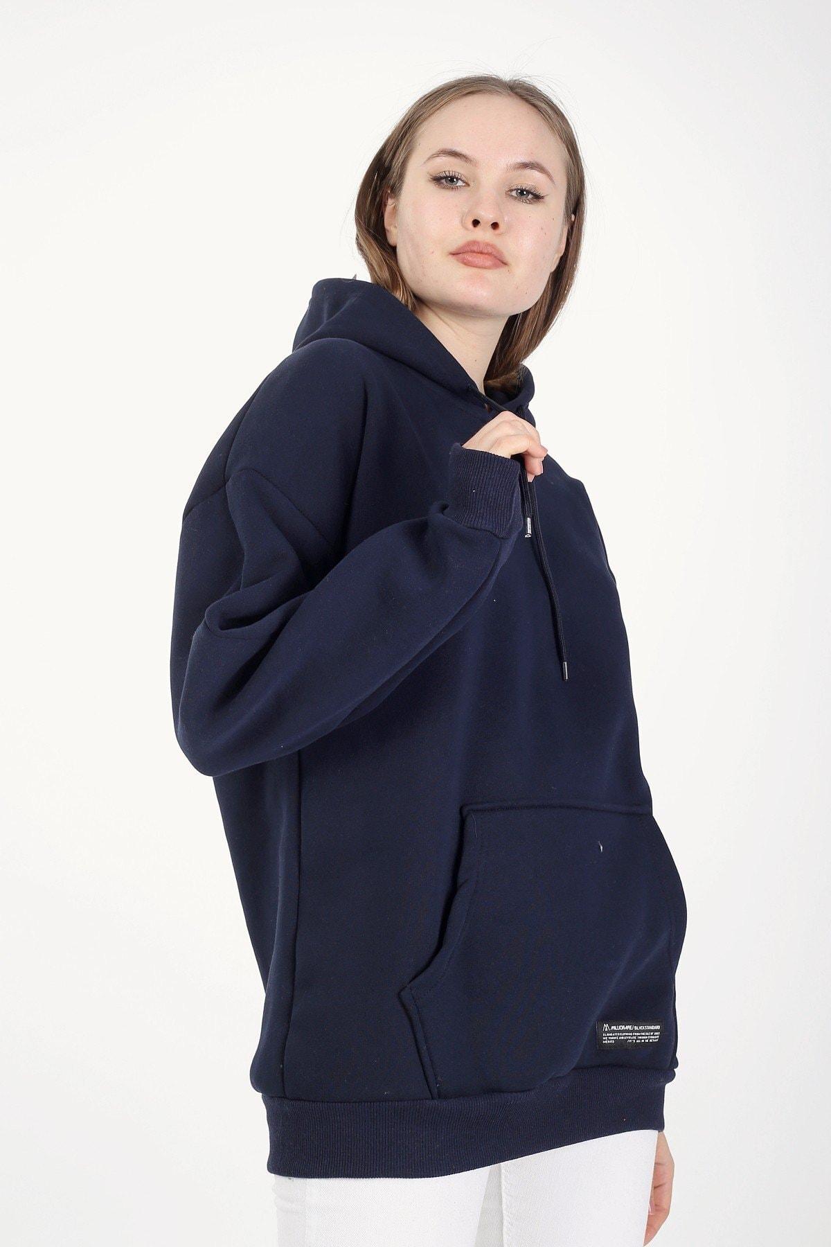 Millionaire Kadın Lacivert Kapşonlu Oversize Sweatshirt 2