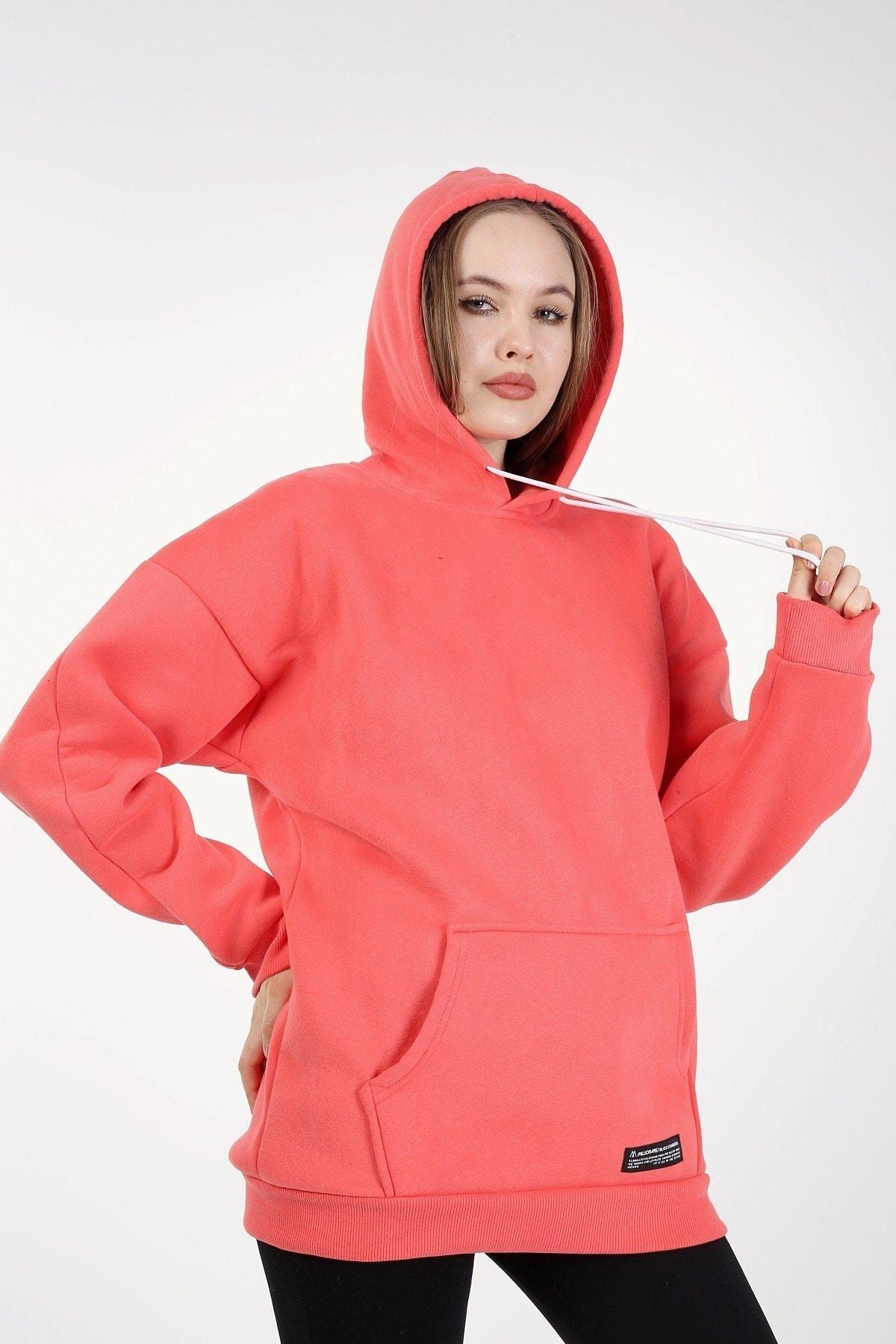 Millionaire Kadın Nar Çiçeği Kapşonlu Oversize Sweatshirt 2