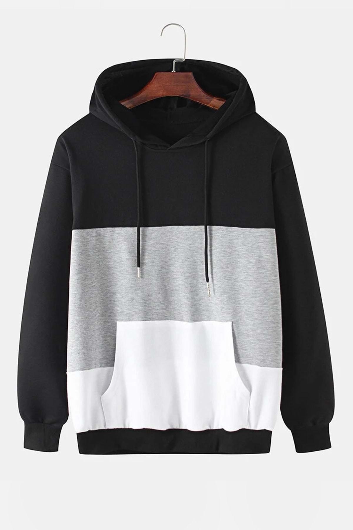 dAcollection Erkek Parçalı Kapşonlu Sweatshirt - - Siyah - L 1
