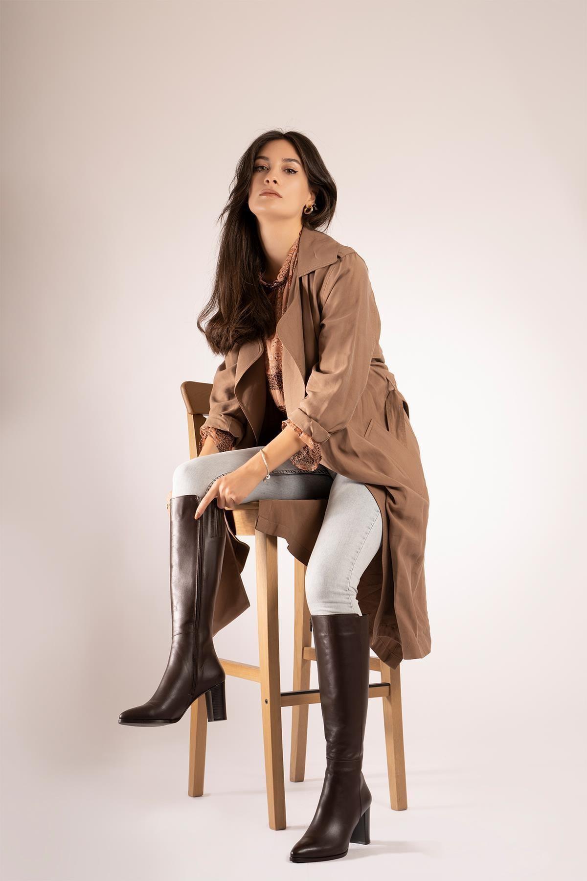 CZ London Kadın Kahverengi Hakiki Deri  Sivri Burun Fermuarlı Uzun Boy Topuklu Çizme 2