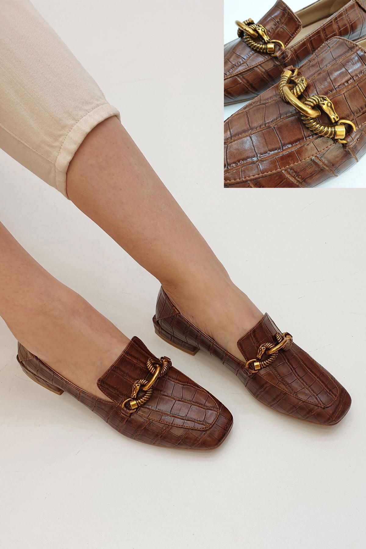 Marjin Alva Kadın Günlük Loafer Ayakkabı Kahve Croco