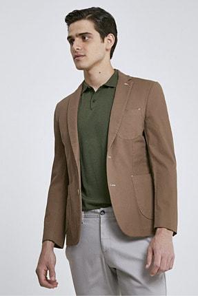 D'S Damat Twn Süper Slim Fit Kahve Armürlü Kumaş Ceket