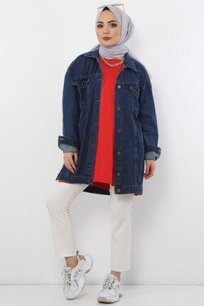 Tesettür Dünyası Kadın Koyu Mavi Cepli Kot Ceket Tsd2519