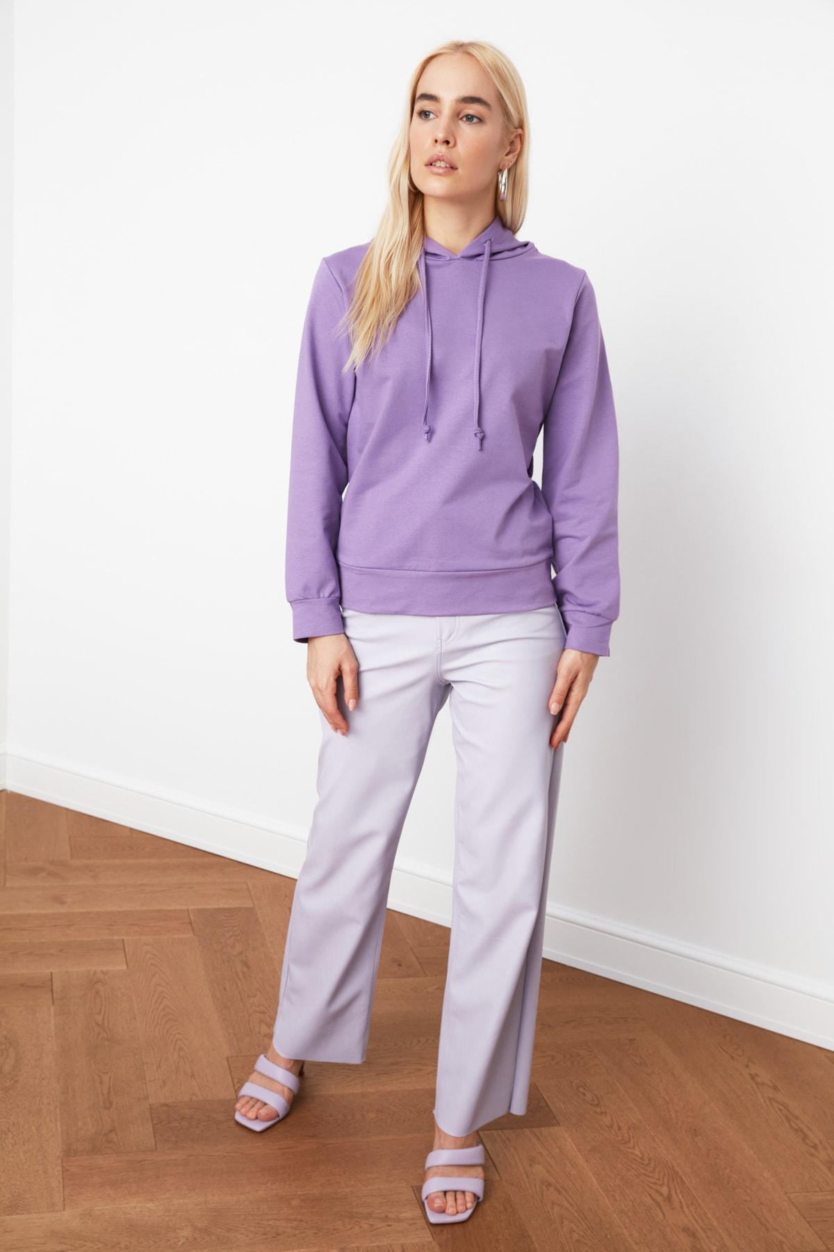 TRENDYOLMİLLA Lila Kapüşonlu Basic Örme Sweatshirt TWOAW20SW0059 2