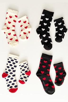 Çorap Çekmecesi 4'lü Anne Bebek Çorap Kombini/ Kalp Renkleri Ve Puantiye Ekru-lacivert