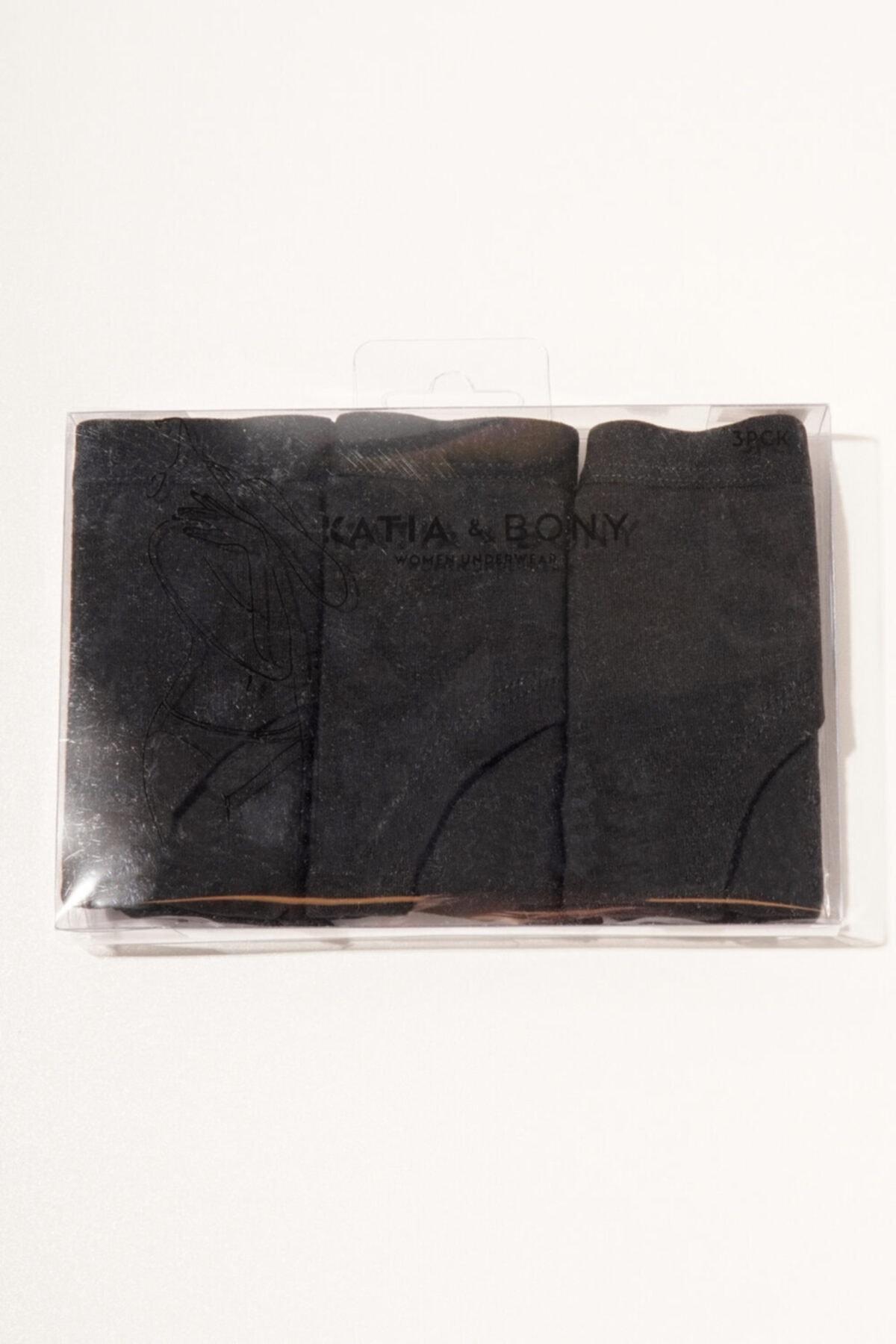 Katia&Bony 3 ' Lü Paket Natural Modal Kadın Hıpster - Siyah/siyah/siyah 2