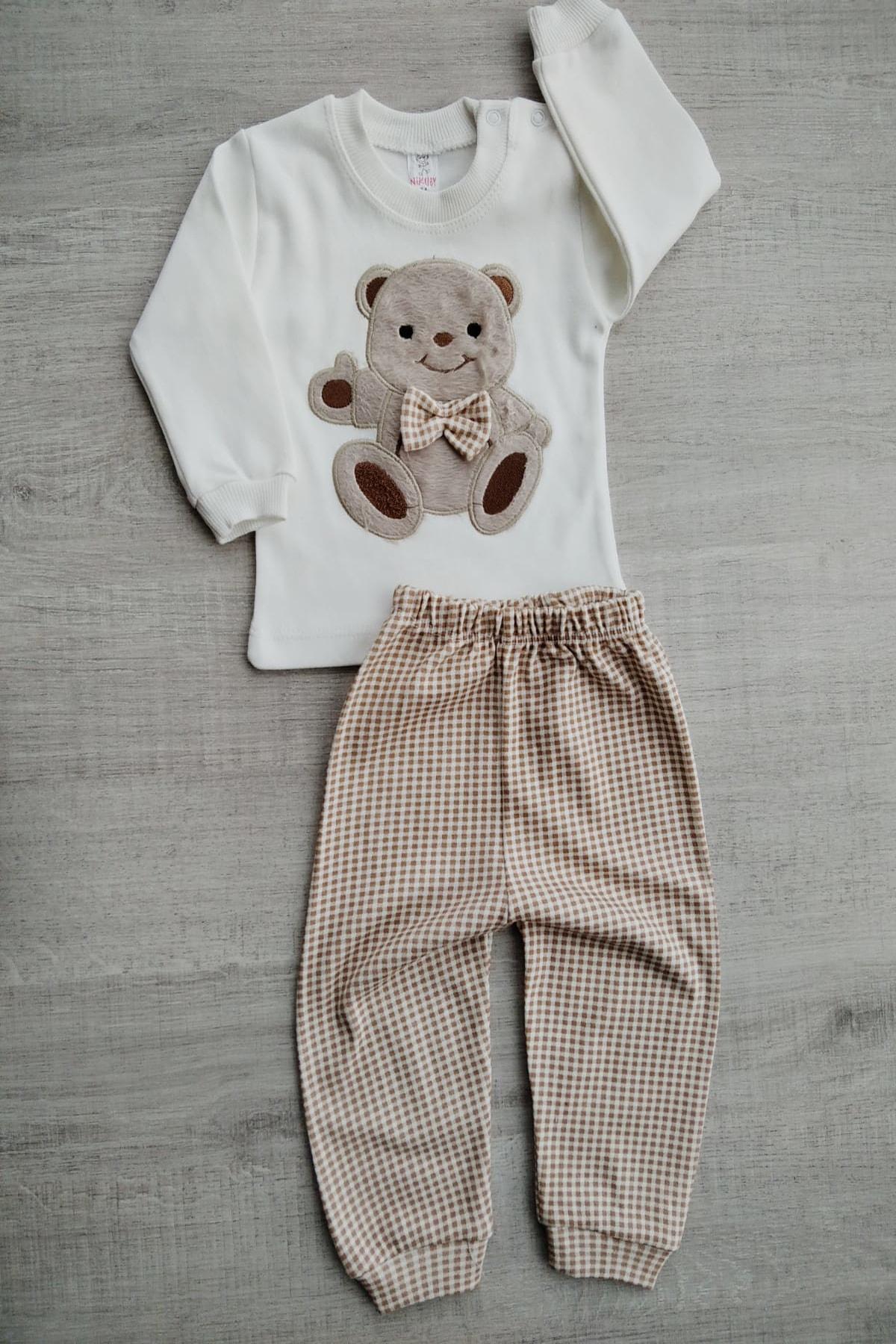 Bebek Exclusive Fiyonklu Ayıcık Bebek Ikili Takım 1