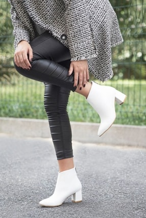 Pekcan Ayakkabı Sivri 5 Cm Topuklu Beyaz Rugan Buti