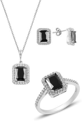 Söğütlü Silver Gümüş Rodyumlu Onix Baget Taşlı Üçlü Set