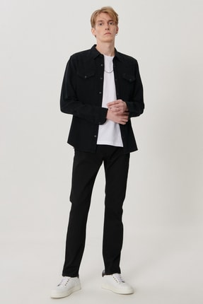 Lee Rider Erkek Siyah Slim Normal Bel Dar Paça Esnek Jean Pantolon