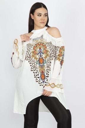 Şans Kadın Kemik Omuz Dekolteli Taş İşli Bluz 65N23020