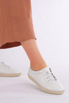 Marjin Kadın Beyaz Hakiki Deri Comfort Ayakkabı Ritok