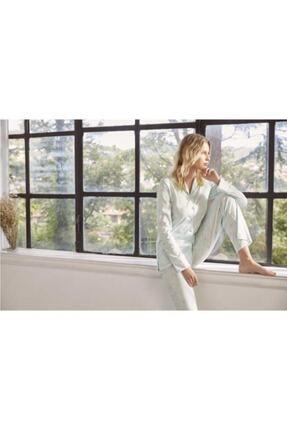 Eros Pijama Eros 27594 Kadın Mint Yeşili Gömlek Pijama Takımı