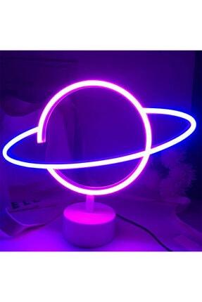 Zemtigo Dekoratif Satürn Gezegen Neon Led Işıklı Masa Ve Gece Lambası