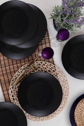 Keramika Siyah Mat Ege Servis Tabağı 26 cm 6'lı