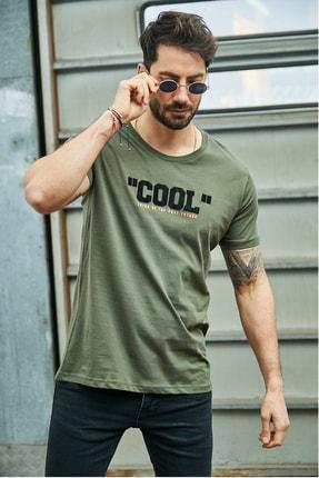 Sateen Men Erkek Haki Kabartma Baskılı T-Shirt