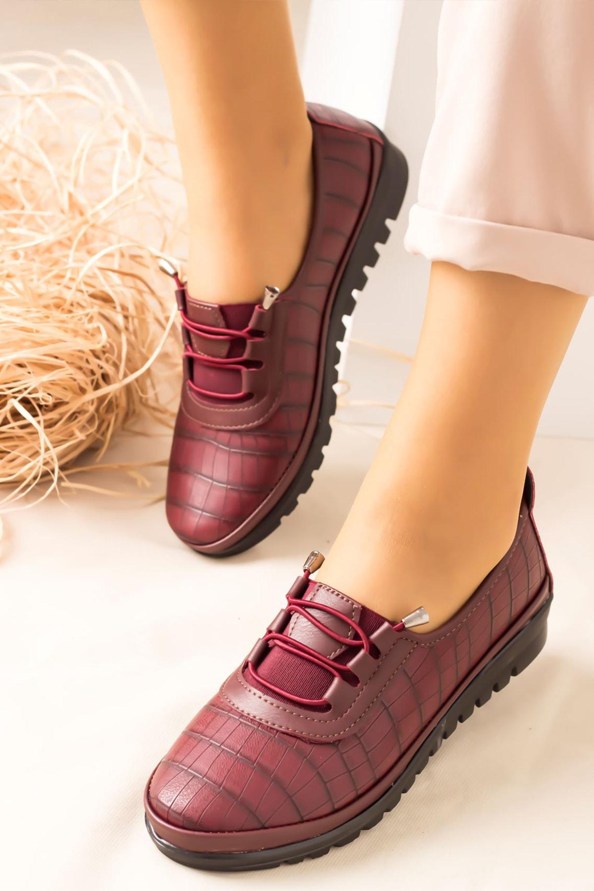 Lal Shoes & Bags Arica Kroko Ortopedik Rahat Kadın Ayakkabı-bordo 1