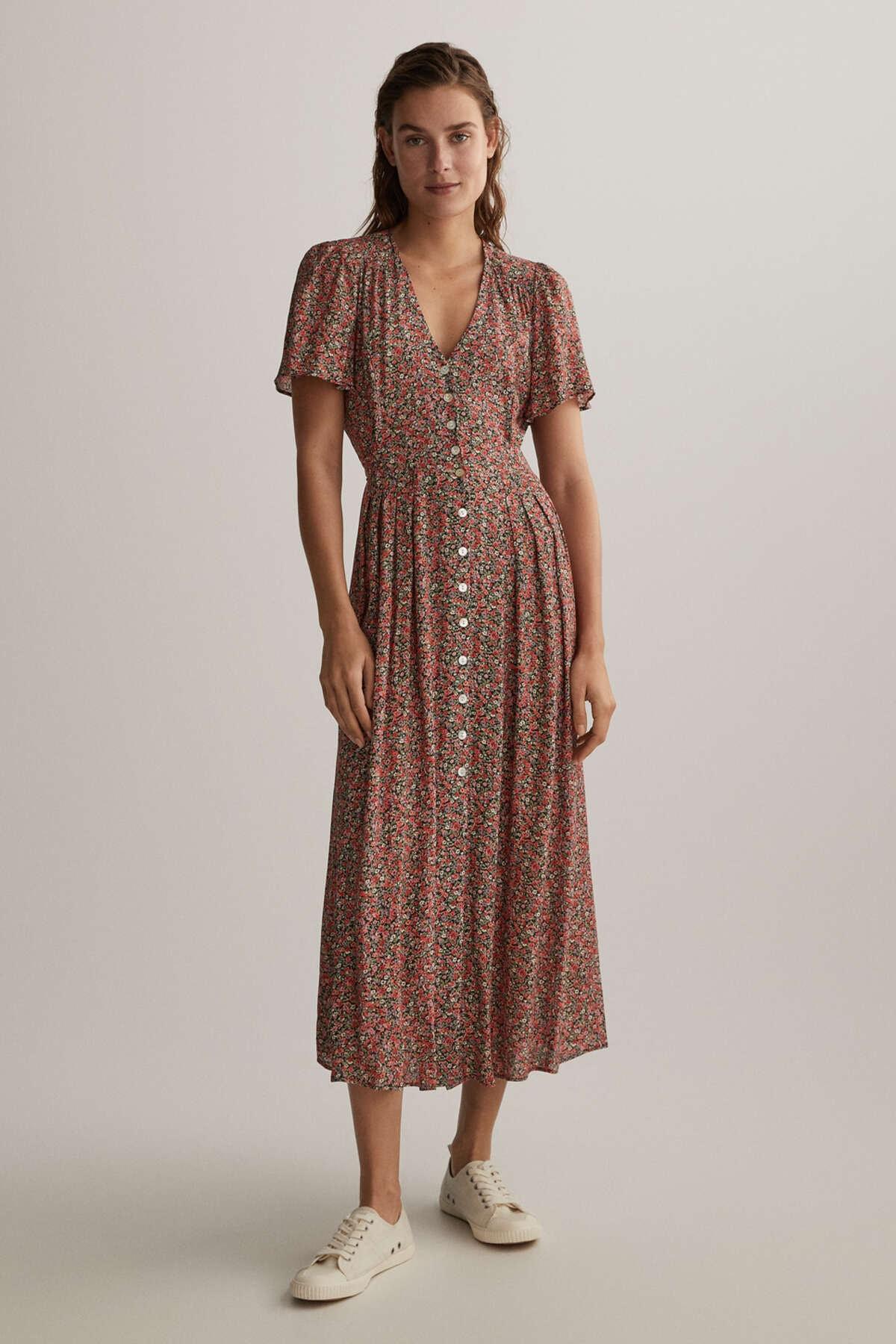 Oysho Kadın Siyah Çiçekli Uzun Elbise 30774190