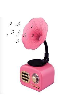 NETAPLUS Pembe Nostaljik Gramofon Taşınabilir Bluetooth Hoparlör Mini Radyo Müzik Çalar Kutusu