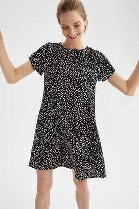 DeFacto Kadın Siyah Desenli A Kesim Fit Elbise