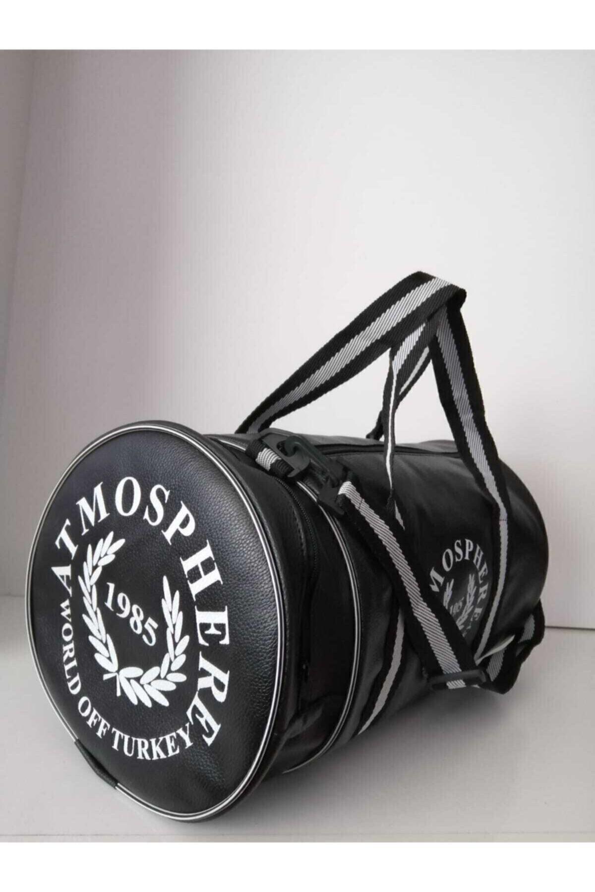 Butik Unisex Siyah Silindir Spor Çantası 1