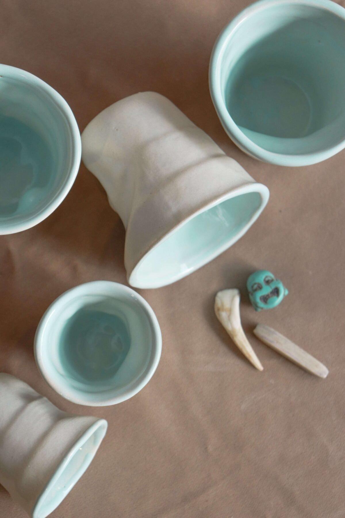 Yumsel Seramik El Yapımı Seramik Kahve Ve Espresso Bardağı (ZİMA MAVİSİ SERİSİ) 2