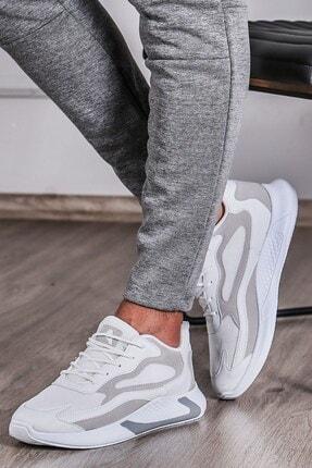 Madmext Erkek Yüksek Taban Beyaz-beyaz Spor Ayakkabı Ms060