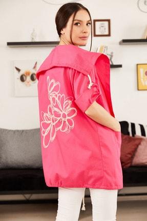 armonika Kadın Fuşya Sırtı Çiçek Baskılı Mevsimlik Ceket ARM-20K024030