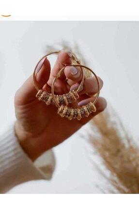 HTC Kadın Gold Halka Mini Taşlı Küpe