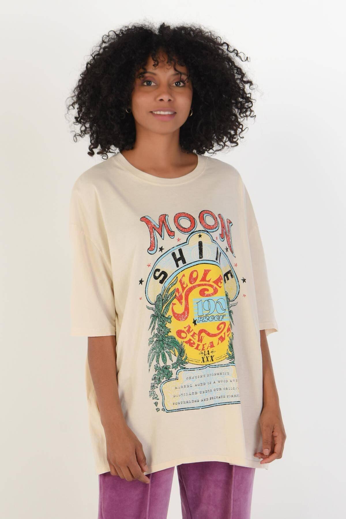 Addax Kadın Taş Baskılı Tişört P9428 - B7 ADX-0000022182 2