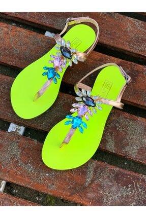 Oblavion Rio Neon Sarı Kristal Cam Taş Detaylı Kadın Sandalet