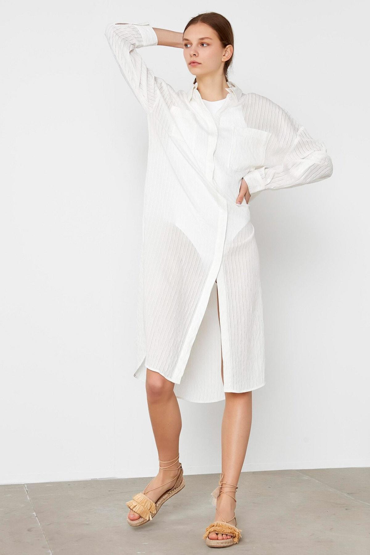 İpekyol Kadın Beyaz Yan Yırtmaçlı Uzun Tunik IS1200016063002 1