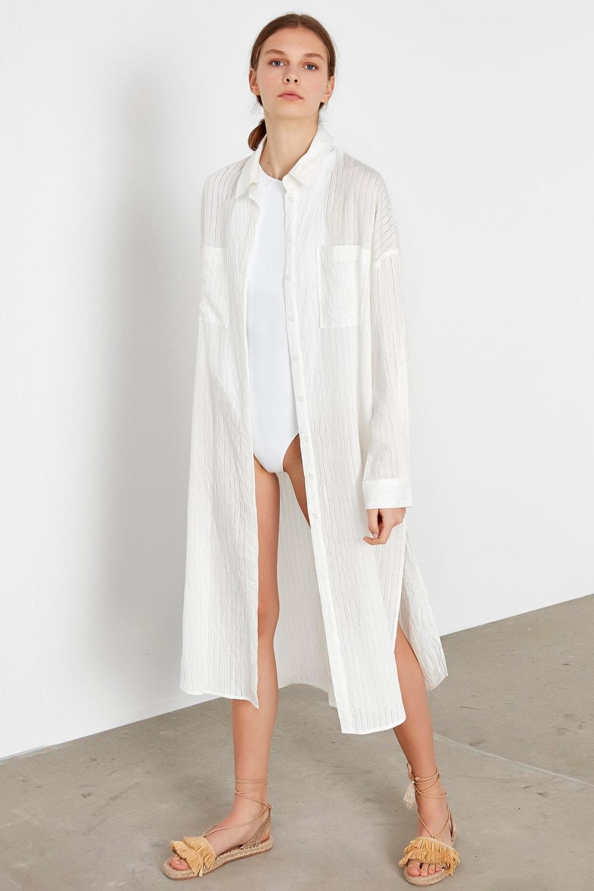 İpekyol Kadın Beyaz Yan Yırtmaçlı Uzun Tunik IS1200016063002 2