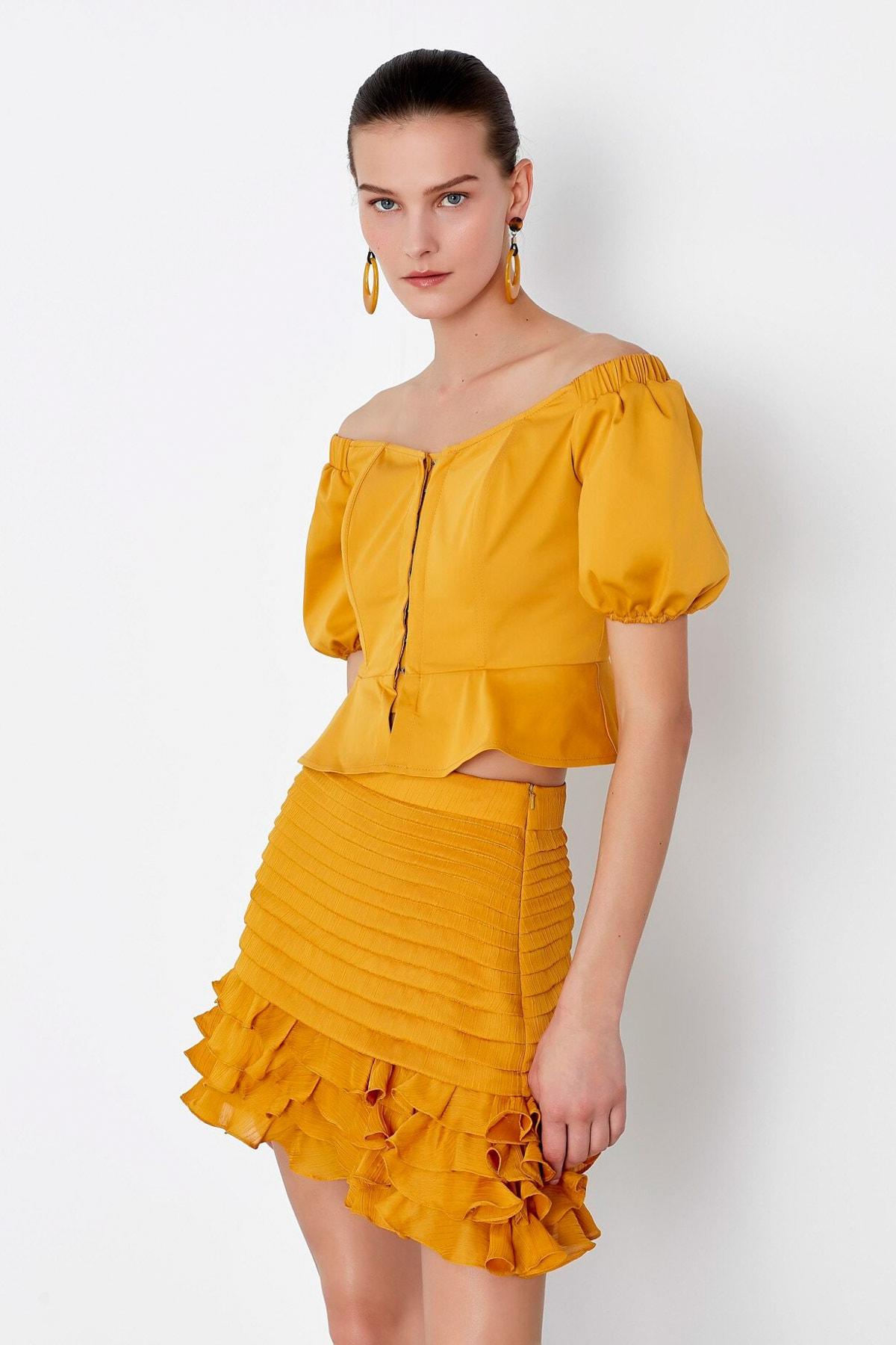 İpekyol Kadın Sarı Fırfır Şeritli Etek IS1200004148024 1